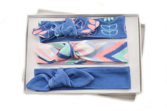 Baby Girl Headband Set/ Set of 3 Headbands/Organic Baby Headbands/Knotted Headbands/ Ikat Zigzag/Modern Floral/Solid/ Headbands. This