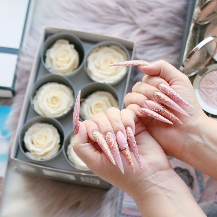 #stilettonails #rosegoldnails #nailartinspiration #extralongstiletto #acrylicnanils for more inspiring photos follow @cosmeticsnob on Instagram