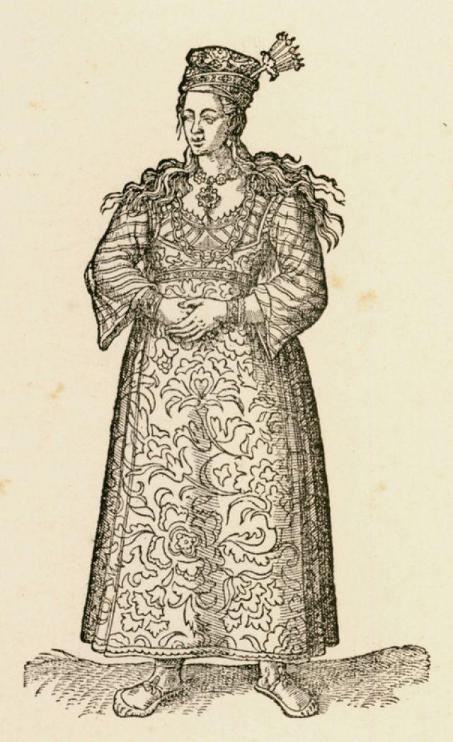Ελληνίδα του Πέρα της Κωνσταντινούπολης. Χαλκογραφία από έκδοση του χρονικού των ταξιδιών του N. de Nicolay (16ος αιώνας). - CANAYE, Philippe - ME TO BΛΕΜΜΑ ΤΩΝ ΠΕΡΙΗΓΗΤΩΝ - Τόποι - Μνημεία - Άνθρωποι - Νοτιοανατολική Ευρώπη - Ανατολική Μεσόγειος - Ελλάδα - Μικρά Ασία - Νότιος Ιταλία, 15ος - 20ός αιώνας