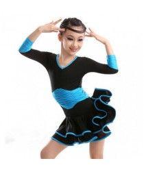 Child Long-sleeve One-piece Dress Ballet Gym Suit Ballet Dance Latin Dance dress Kids Dance Wear Leotard ballroom waltz flamenco