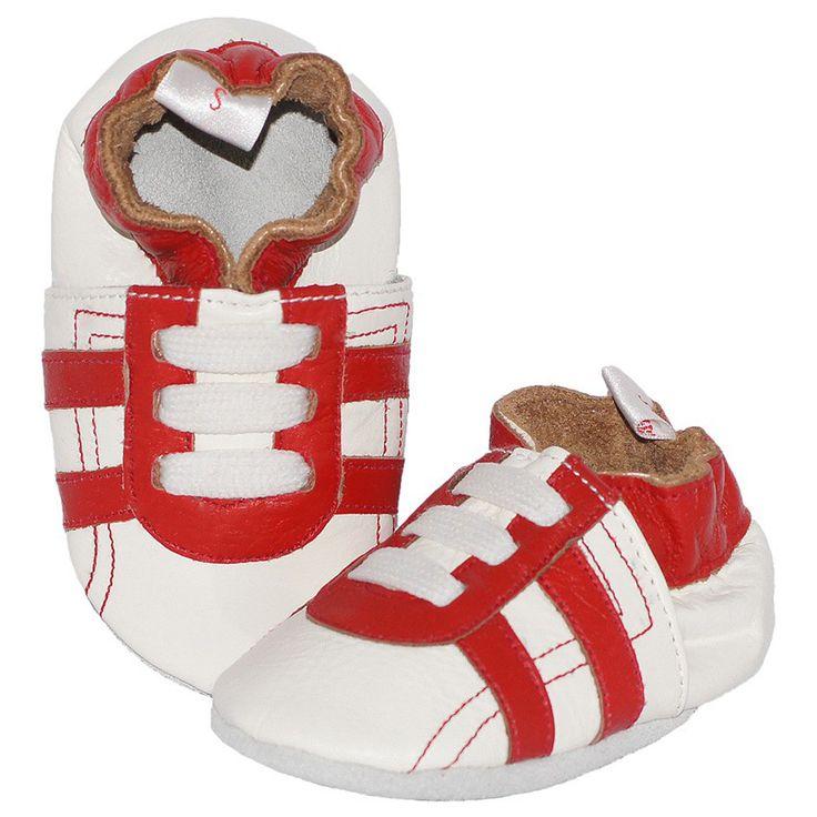 Sportieve leren babyslofjes wit met rode strepen
