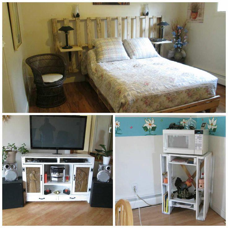 lit et meubles en palette pallets headboard furniture - Wie Baut Man Ein Kopfteil Aus Paletten