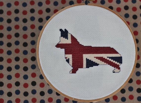 Patterned Corgi Modern Cross Stitch Pattern by stageappealcrafts