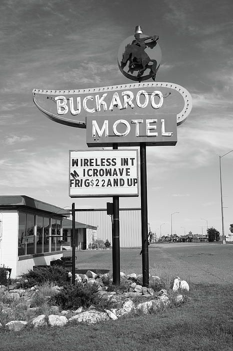 Route 66. The Buckaroo Motel, still in operation on Tucumcari Boulevard, on what was once old Rt. 66. This roadside establishment features a classic neon sign.