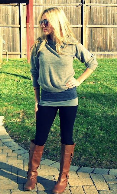 fall layering. Molly just got a pair of boots like this!