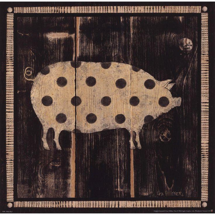 "Evive Designs Polka Pig I by Lisa Hilliker Painting Print in acid free fine art paper w/o frame.10"" x 10""."