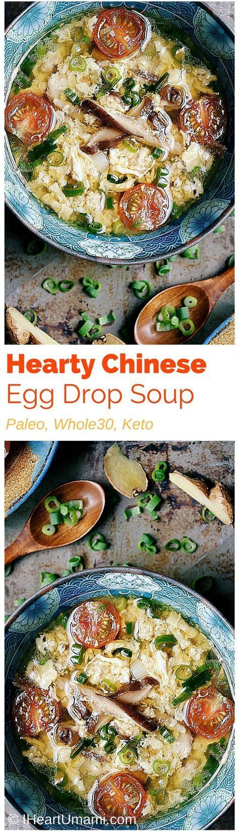 Hearty Chinese Egg Drop Soup! Make the most soft and fluffy eggs with savory mushrooms, citrus tomatoes, and juicy ground chicken. A savory broth to keep your full and satisfied. Paleo, Whole30, Keto friendly.