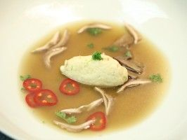 Brodo with Pacific Halibut Quenelle and Shaved Wild Mushrooms from CookingChannelTV.com
