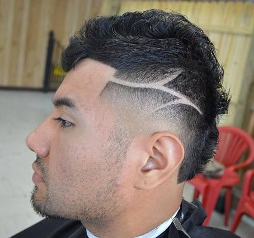 taper+fade+Mohawk+with+shaved+designs