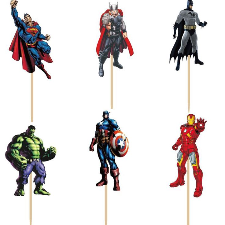 72pcs Avengers hero Superman Captain America Batman Hulk Cupcake Toppers Picks boy Kids birthday party evnent party decorations //Price: $9.95 & FREE Shipping //     #partysuppliesplate