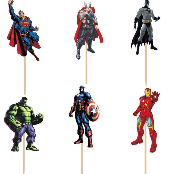 Купить товар24 шт. Мстители герой Супермен Бэтмен Капитан Америка Халк Железный человек Кекс Ботворезы Выбирает мальчика день рождения украшения дети в категории  на AliExpress. название: торт топпер выбираетматериалы:High Quality Fоод Standard Pкабанразмер: 3x3.5 см (