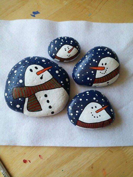 pebble painting - snowman