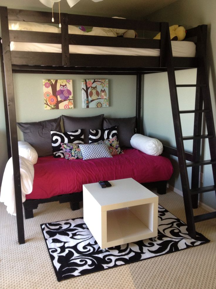 Loft with Futon under it. Tight space between loft and ceiling.