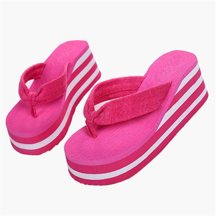 Women Summer Flip Flops Shoes Sandals Slipper indoor & outdoor Flip-flops  High Heel slippers
