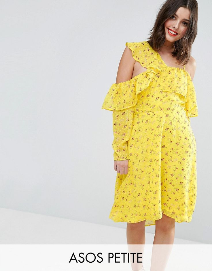 ASOS PETITE Cold Shoulder Ruffle Tea Dress in Dobby Ditsy Print - Yell