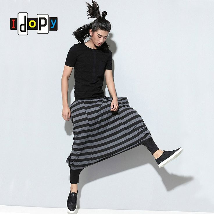 Fashion Mens Hip Hop Style Loose Harem Pants Drop Crotch Cuffed Striped Trousers For Male Hipster #Affiliate