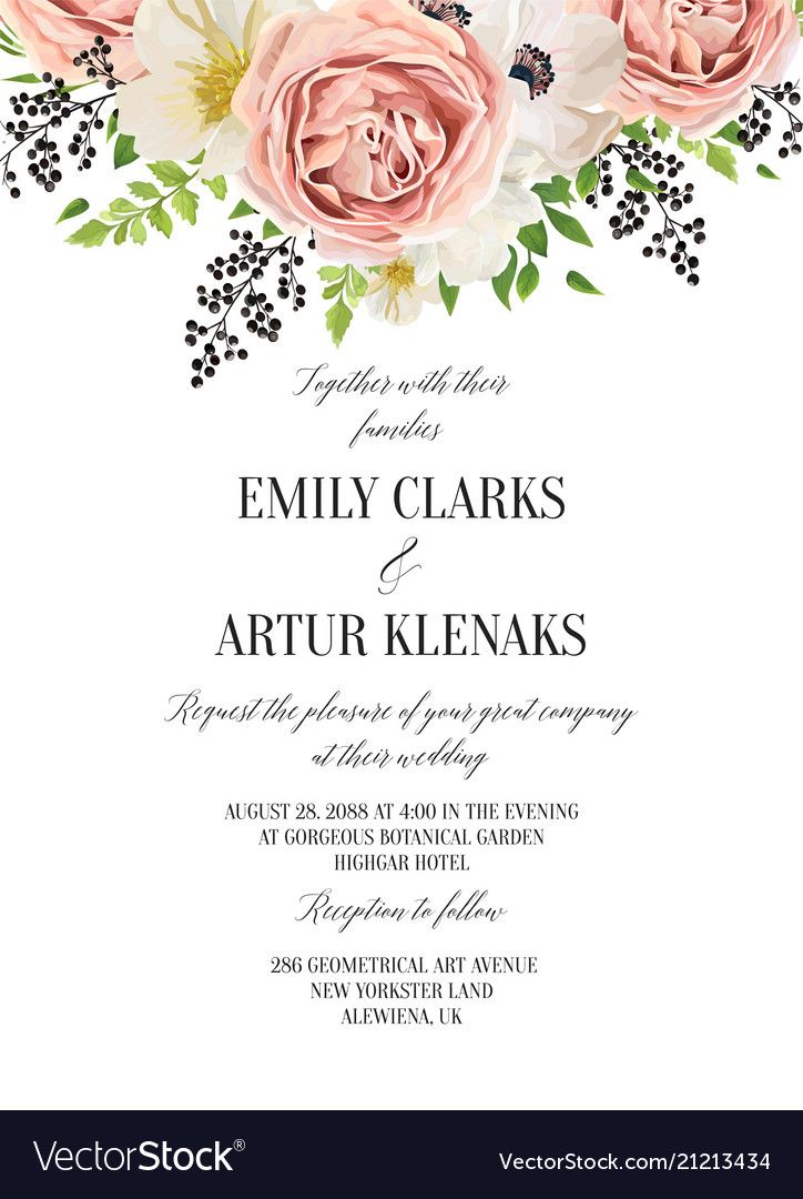 Wedding Floral Watercolor Invitation Save The Vector Image On