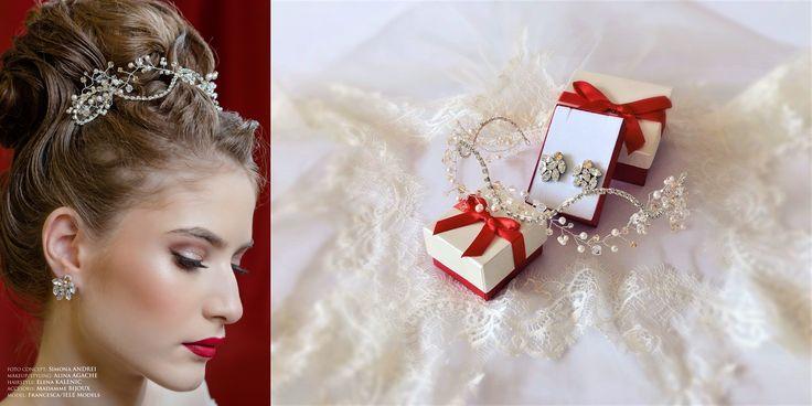 Bridal Headband made with Swarovski Crystals, delicate tiara, wedding headpiece, Small Earrings rhinestone crystals Swarovski Navette