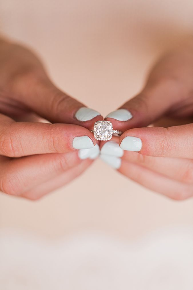 Icy blue mani   cushion cut engagement ring by James Allen