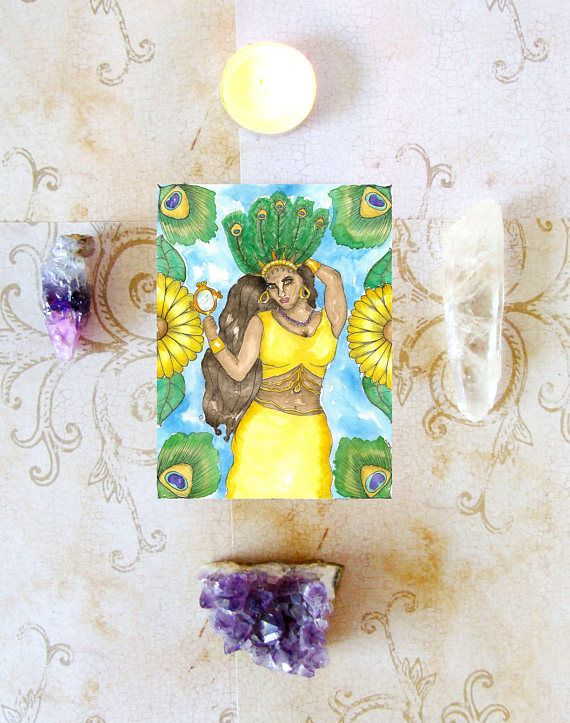 Goddess Oshun Prayer Card Pagan Fantasy Art