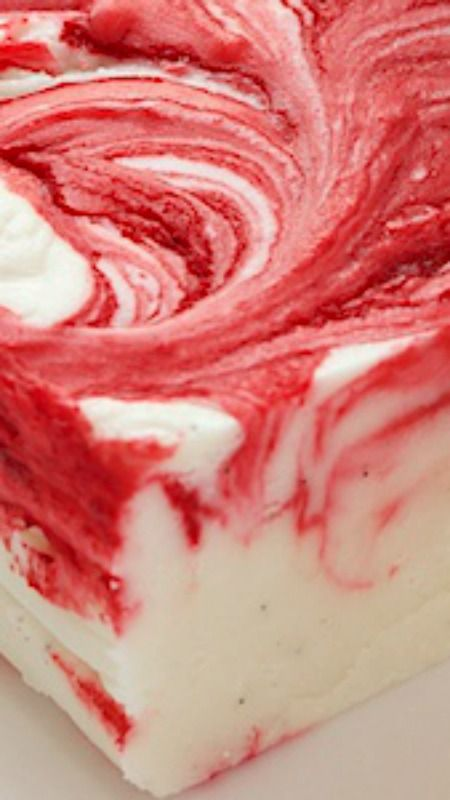 Strawberry Swirled Fantasy Fudge ~ super creamy with flecks of vanilla bean and swirled with strawberries... It makes a wonderful gift!