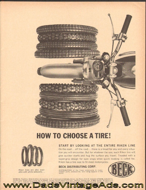 1966 vintage ad for Riken Motorcycle Tires