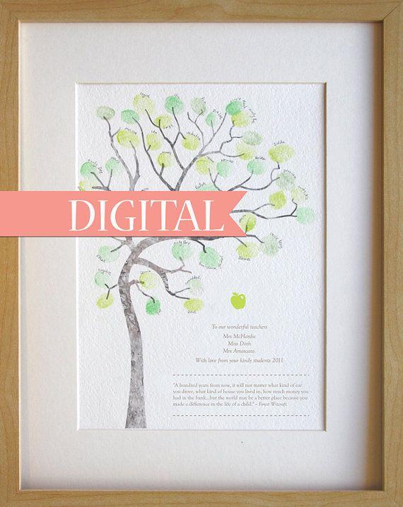 DIGITAL teachers gift, fingerprint tree classroom gift, thank you card, graduation gift, A4 print Digital download, print at home. on Etsy, $20.00 AUD