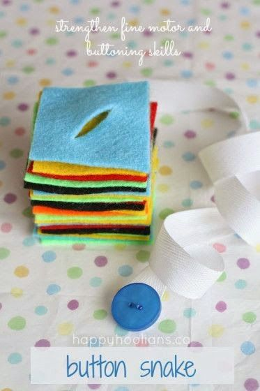 Tutus and Tea Parties: 7 Lacing Activities to Build Fine Motor Skills. This one is called button snake.