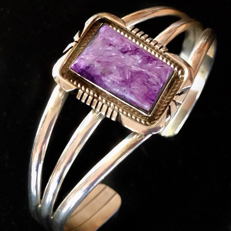 Vintage Navajo E. Spencer Sterling Silver and Charoite Cuff Bracelet... sugardrawers.etsy.com