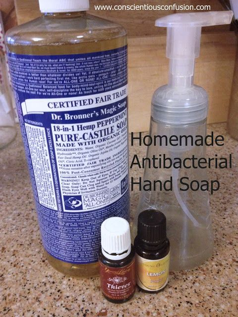 Homemade Antibacterial Hand Soap with #EssentialOils - Conscientious Confusion Just in case I run out of thieves Hand Soap