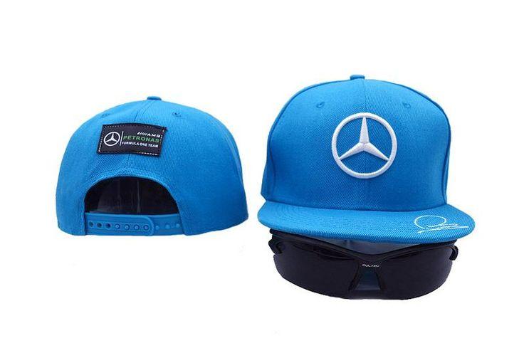 Mens Mercedes Benz AMG Petronas F1 Racing LEWIS HAMILTON Signature Embroidery Baseball Snapback Hat - Blue