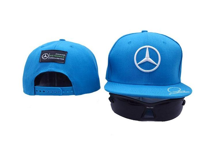 Mens Mercedes Benz AMG Petronas F1 Racing LEWIS HAMILTON Signature Embroidery Baseball Snapback Hat - Blue