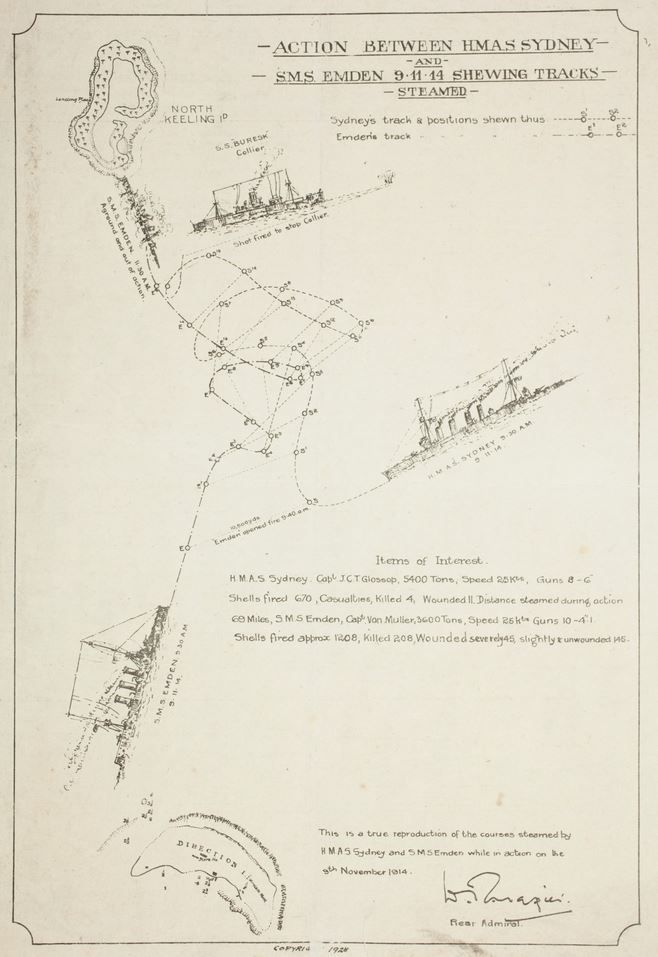 Battle of Cocos: primary source map of action during battle, drawn by Rear Admiral of HMAS Sydney.