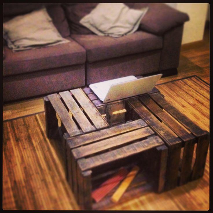 Cajas fruta madera mesa reciclada ideas casa pinterest for Muebles con cajas de fruta