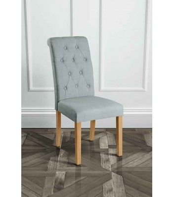 Genoa Grey Upholstered Scroll Back Dining Chair with Natural Legs