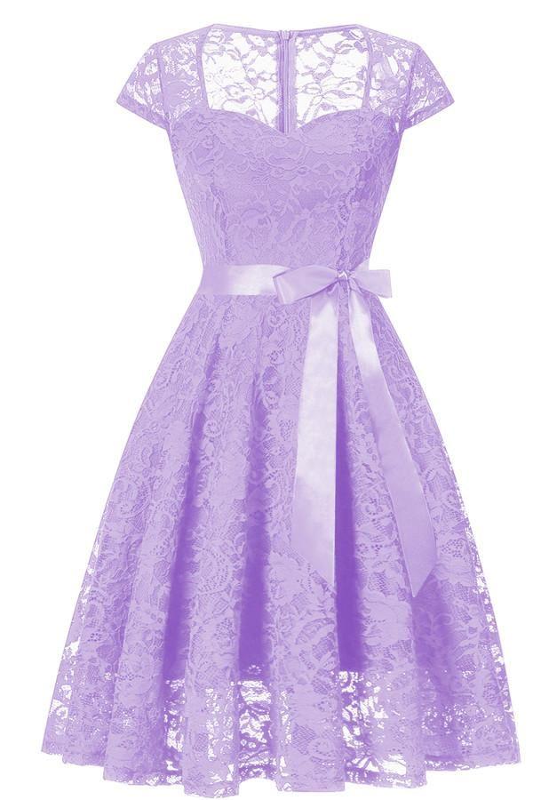 Chicloth Lace U Neckline Dresses 2018 New Solid Purple Prom Dress Short Light Purple Dress Lace Dress