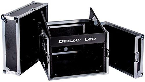 DEEJAY LED TBHM6U Fly Drive Case 10u Space Slant Mixer Rack / 6u Space Vertical Rack System with Full Accessory Door