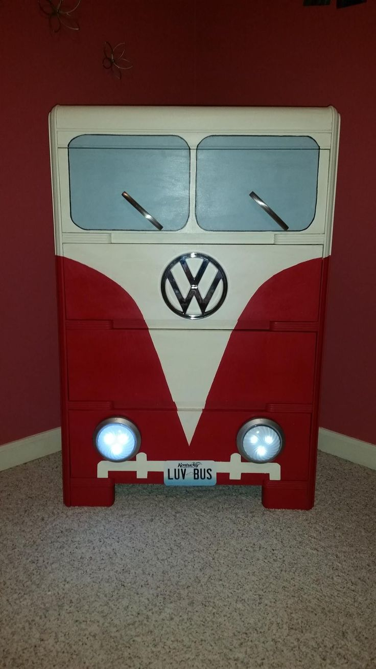Volkswagen bus vanagon take a look volkswagon new interior run and - Vw Bus Dresser Made From Old Waterfall Dresser Tap Lights For Headlights Cabinet