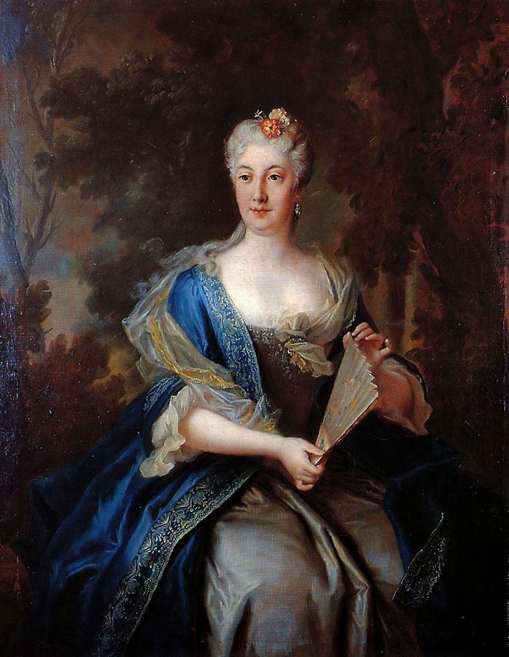 Louis de Silvestre, Portrait of Katarzyna Barbara Branicka née Radziwiłł (1693–1730) with a fan, 1728