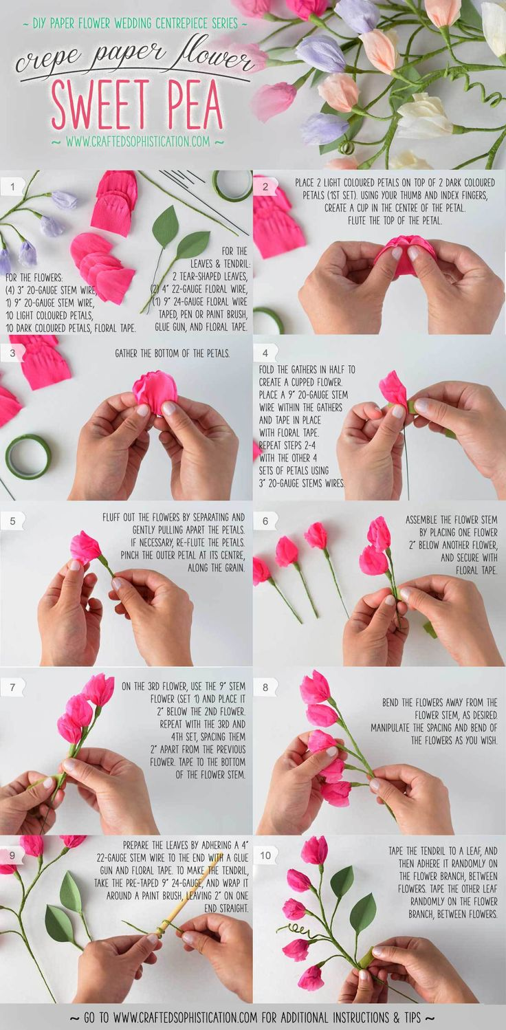 DIY Crepe Paper Flower Sweet Pea Tutorial from Crafted Sophistication #tutorial #DIY #paperflowers #crepepaperflowers #wedding #bridal #love #centrepiece #bridalshower #paperart