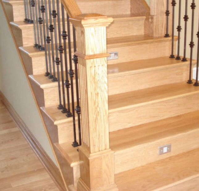 58 Cool Ideas For Decorating Stair Risers: Staircase With Maple Threads, Maple Risers, Iron Spindles