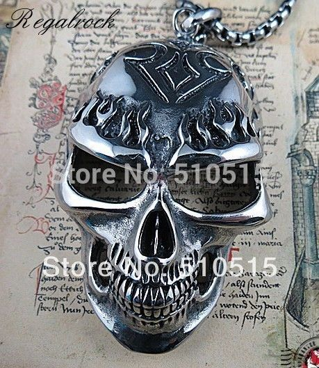 Regalrock 3.5 Inches Large Ghost Rider Nicolas Cage Flame Skull Biker Pendant Necklace #Affiliate