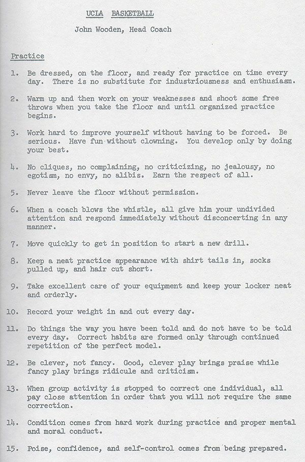 A list of basketball practice rules that John Wooden, UCLA Head Coach,  gave to each of his players