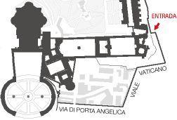 Plano de la entrada a los Museos Vaticanos