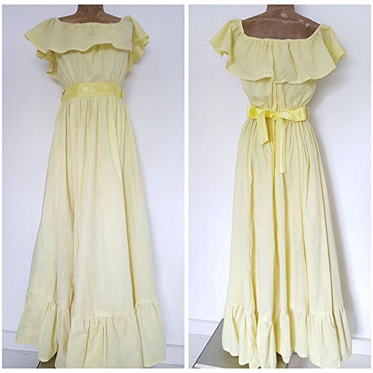 Vintage 70s Festival Dress Size Medium Yellow Polka Dot Ruffle Costume Party #Unknown #Maxi #Formal