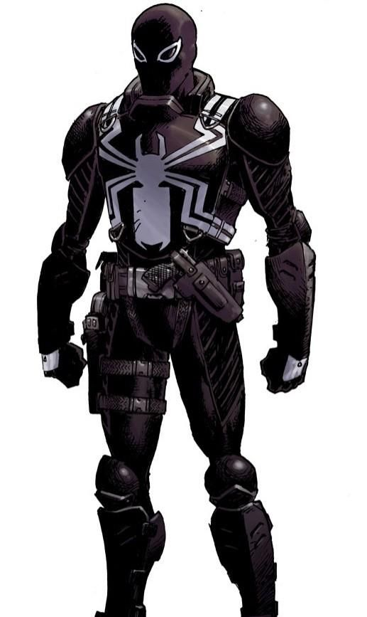 Agent Venom(Flash Thompson) is a fun take on a character who has been around forever. Flash loses his legs in the Army and ends up with the Venom symbiote. When he's Venom he has his legs back, thus creating a symbiotic relationship on both sides. Not only does the symbiote need a host, but Flash needs the symbiote to be a soldier again