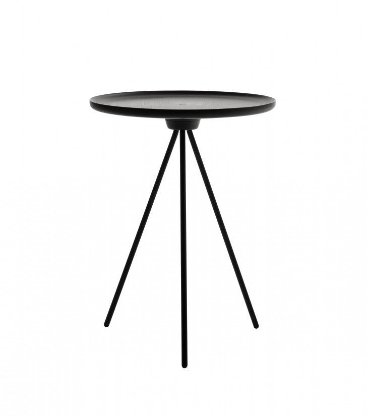 Superb Furniture. Round Metal Side Table With Tripod Black Metal Base. Minimalist Small  Black Side