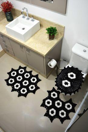 Jogo de Banheiro P&B Crochê