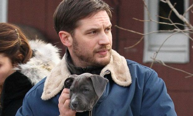 tom hardy and Rocco from The Drop film set.