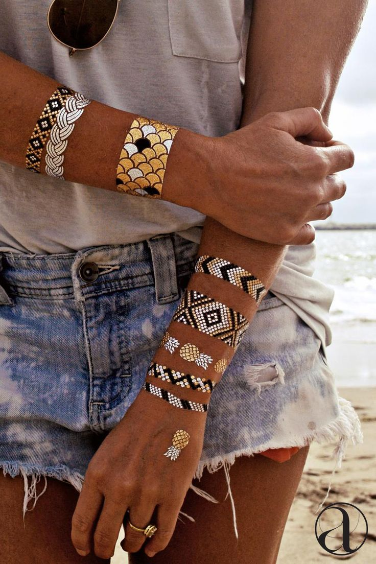 Never lose your jewelry again! These gilded temporary tattoos look like the real thing, and wash off with soap. Shop now.